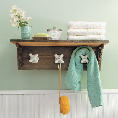 hand made towel rack with vintage taps