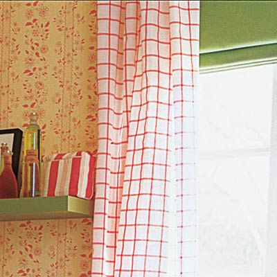 long windowpane plaid curtains in upgraded bathroom