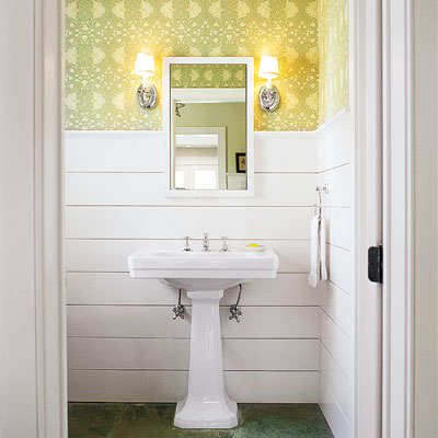 upgraded bathroom with horizontal wainscoting