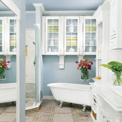 master bath remodeled with vintage details