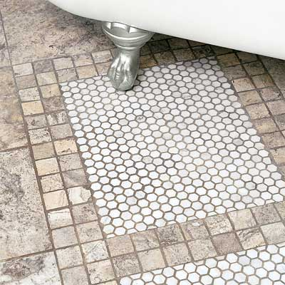 a bath runner made from mosaic tile