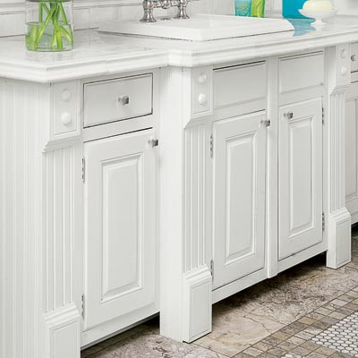 custom casework for the bottom cabinets in the bath vanity