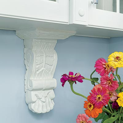 decorative brackets for glass-front cabinets