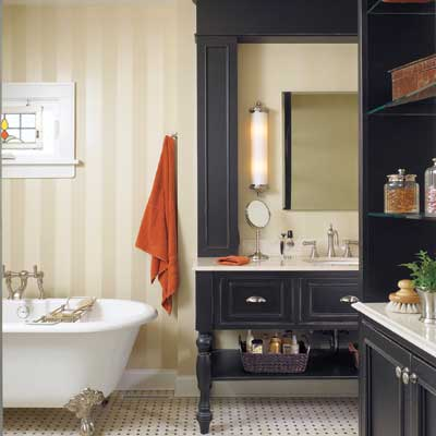 bathroom before and after: gentleman's club style bath with wood built-ins