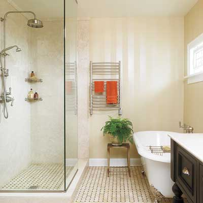 Easy clean bathroom a ho hum bath becomes a handsome for Easy clean bathroom design