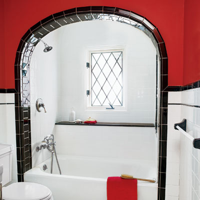 a Tudor-style bath remodel focusing on the shower alcove