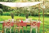 outdoor dining table with canopy cover