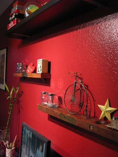 antique levels used as wall shelves