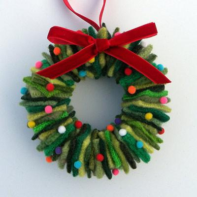 wool fabric wreath ornament