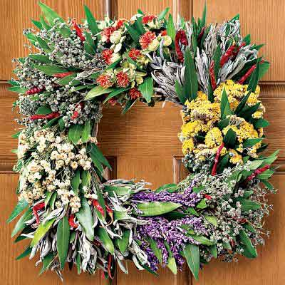 mixed-herb wreath