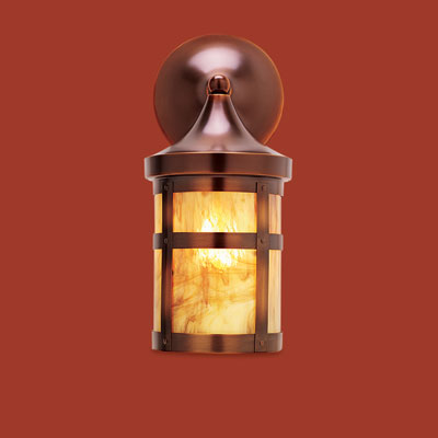 an antiqued-copper sconce to fit a Craftsman-style porch