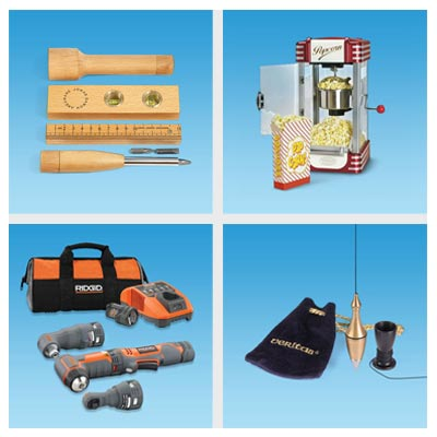 wooden measuring tools, popcorn maker, power tool set and a plum bob
