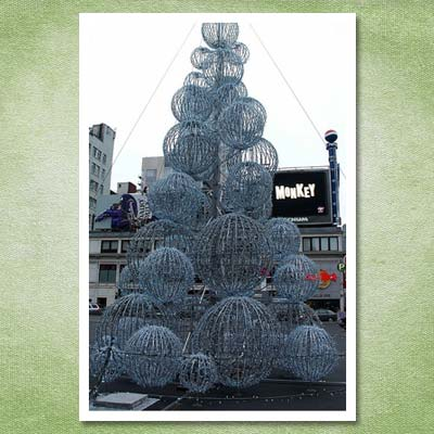 christmas tree made from silver wire balls