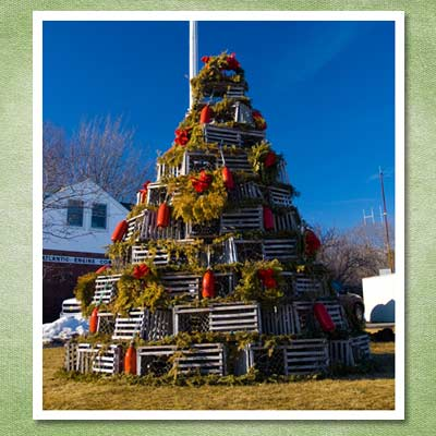 christmas tree made from lobster crates