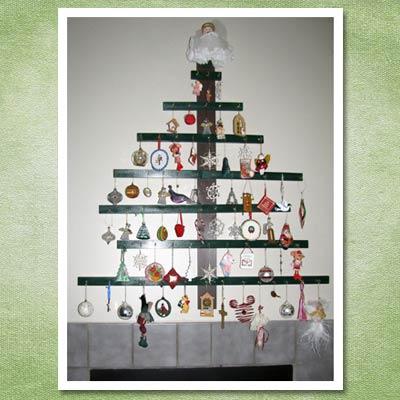 diy christmas tree hung on wall