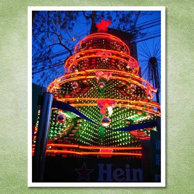 christmas tree made out of heineken beer bottles