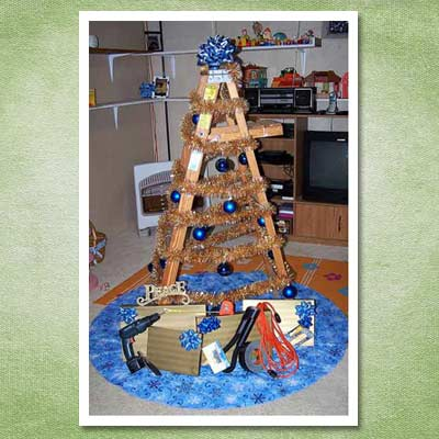 christmas tree made of ladders