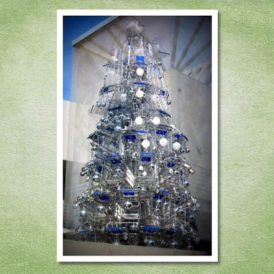 christmas tree made from shopping carts