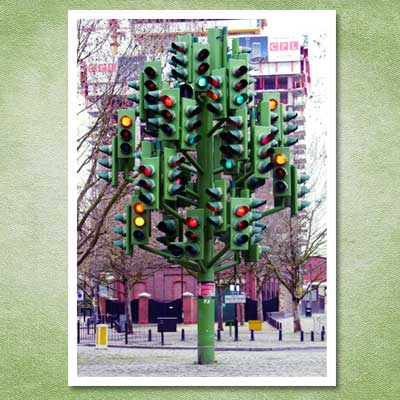 christmas tree made from traffic lights