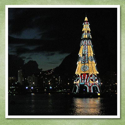 christmas tree floating on river