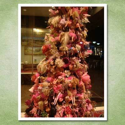 christmas tree made from barbie dolls