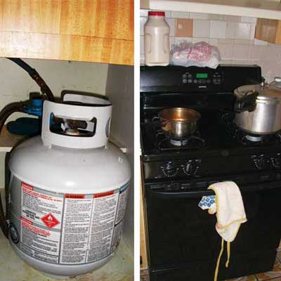 the propane tank installed in a cabinet and the gas stove that it supposedly powers
