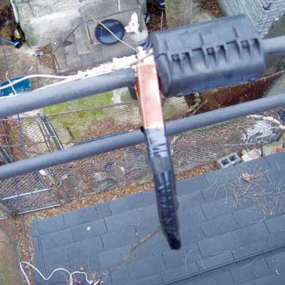 jumper cable attached to an electrical utility service line