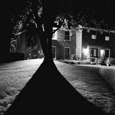 scary house in black and white
