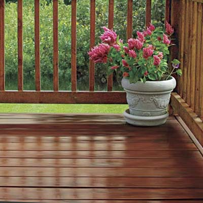 clean and finished wood deck