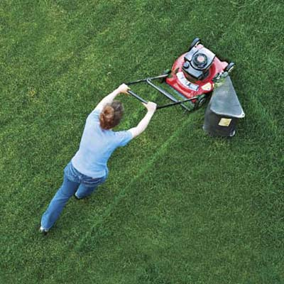woman pushing lawn mower on green yard