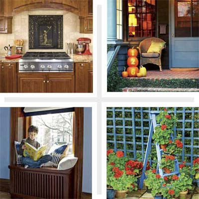 composite of four images including a kitchen backsplash, ladder plant stand, radiator cover window seat and pumpkins used for house numbers