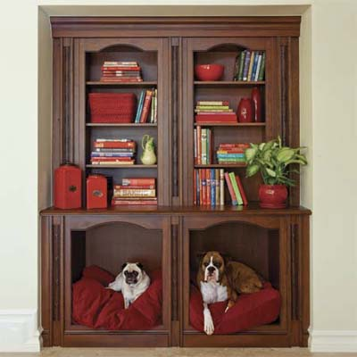 custom built pet niche constructed into the bottom of a bookcase for easy upgrade
