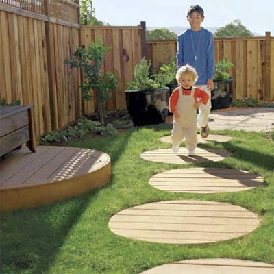 walkway made of composite decking stepping stones