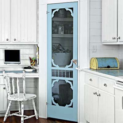screen door used inside as a pantry door for easy upgrades
