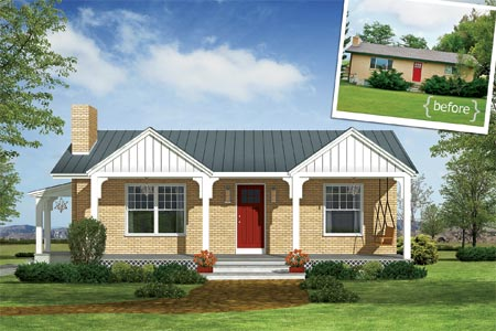 Photoshop redo craftsman makeover for a no frills ranch for Small brick ranch homes