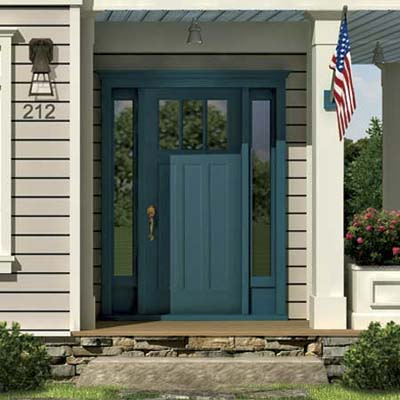 the Photoshop rendering of an architect's proposed changes to a house emphasizing the front entryway