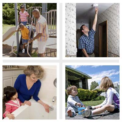child home safety, child-proofing, and accident prevention: playground and yard safety to prevent falls, home and fire safety, bathroom safety to prevent drowning and scalds, and driveway safety to prevent accidental backovers