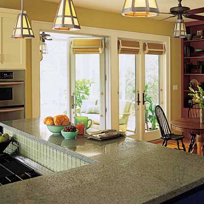 bright kitchen with several windows