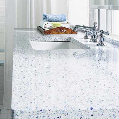 bathroom countertop with faucet