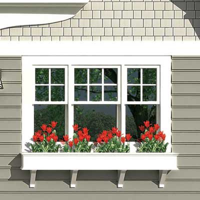 a Photoshop rendering of a cottage redesign focusing on the window box