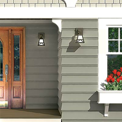 a Photoshop rendering of a cottage redesign focusing on the exterior lighting