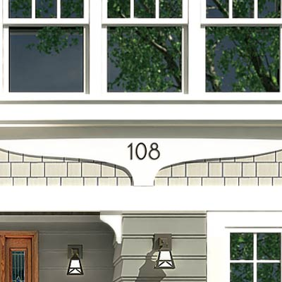 a Photoshop rendering of a cottage redesign focusing on the house numbers