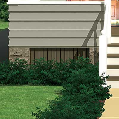 a Photoshop rendering of a cottage redesign focusing on the crawl space