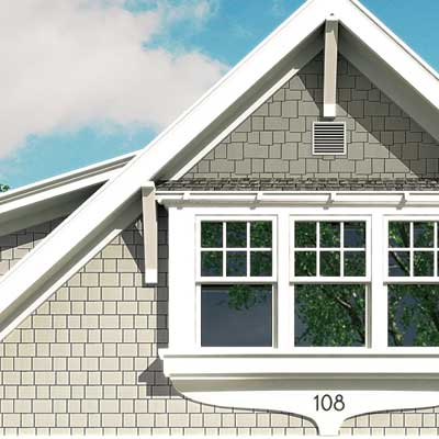 a Photoshop rendering of a cottage redesign focusing on difference between the second story and gable siding