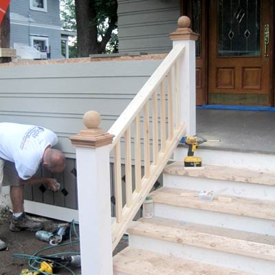 the newly remodeled front porch stairs