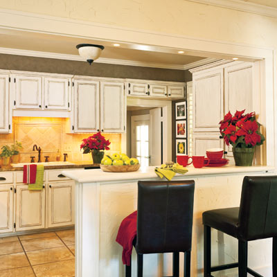 open kitchen with snack counter in craftsman style cottage