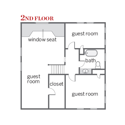 floor plan of second floor of craftsman cottage