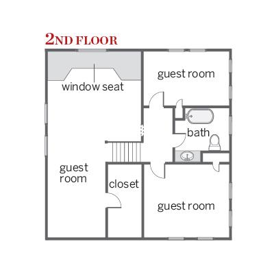 floor plan of second floor of craftsman cottage