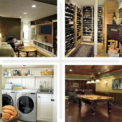 composite of four basement remodels