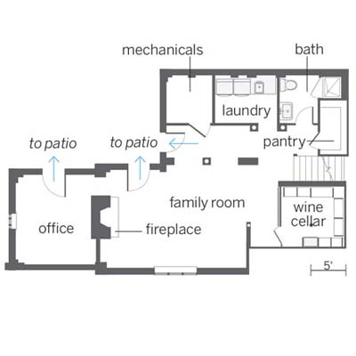 floor plan for this basement remodel